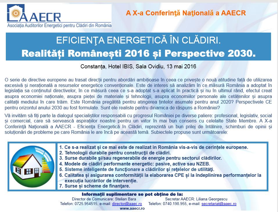 Conferință AAECR – Asociația Auditorilor Energetici în Clădiri Din România – 13 Mai 2016